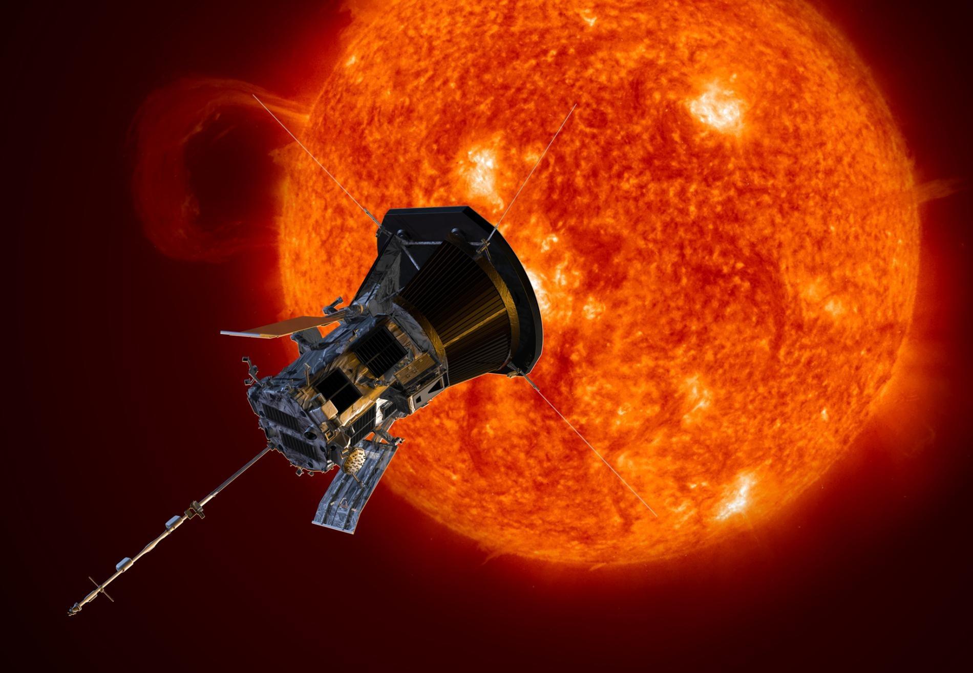 在這幅插圖中的帕克太陽探測器正接近太陽。這艘於2018年發射的太空船,現在成了有史以來最接近太陽的人造物體。ILLUSTRATION BY NASA/JOHNS HOPKINS APL/STEVE GRIBBEN
