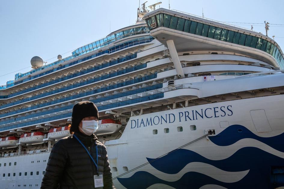 圖中為2月10日停靠在日本橫濱港的鑽石公主號,這艘遊輪在部分乘客確定感染新型冠狀病毒後遭到檢疫隔離。PHOTOGRAPH BY CARL COURT, GETTY IMAGES