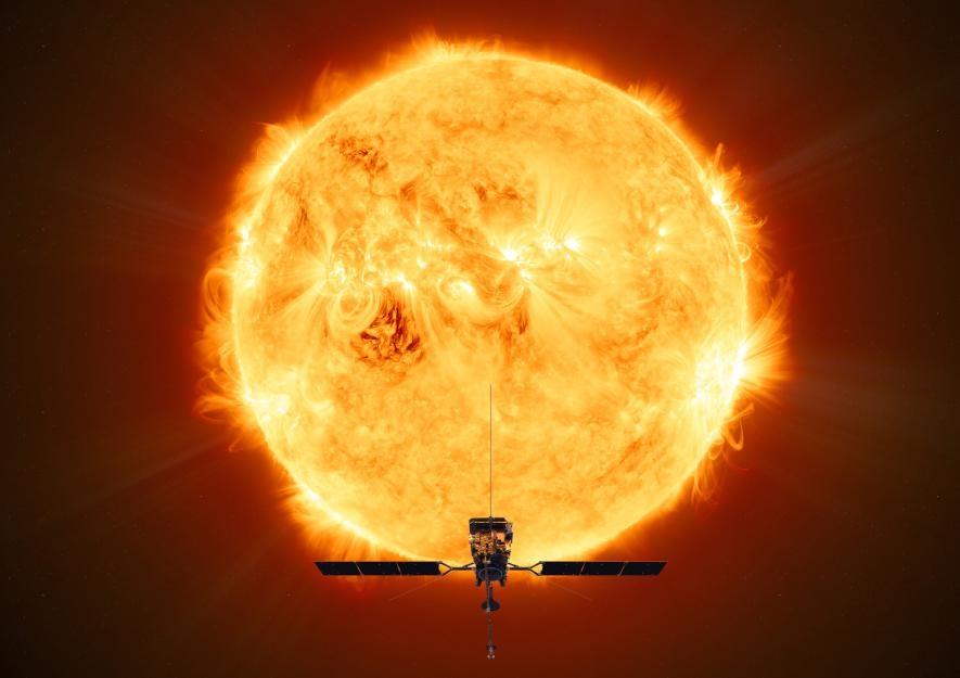 藝術家想像圖:歐洲太空總署(ESA)太陽軌道飛行器在最接近太陽時,面向太陽的場景。ILLUSTRATION BY ESA/ATG MEDIALAB