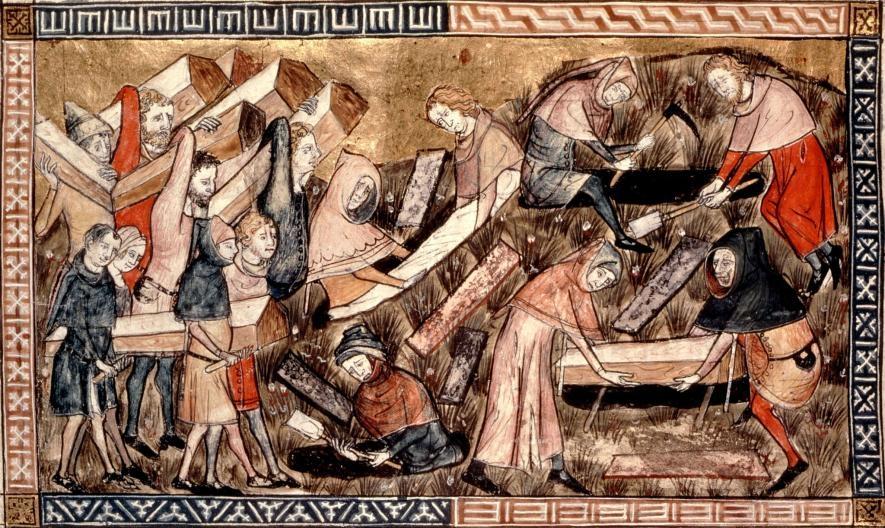 在這幅14世紀中葉描述歐洲疫病爆發的畫作中,村民扛著瘟疫罹難者的棺材。PHOTOGRAPH BY PHOTO12, UNIVERSAL IMAGES GROUP/GETTY