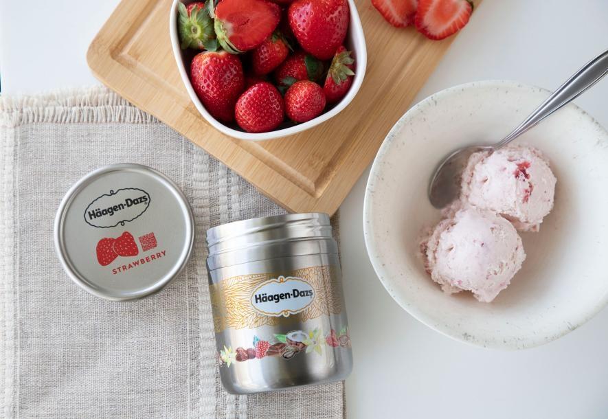 這個可再填充的哈根達斯冰淇淋桶來自Loop,這間公司將日常用品以可重複使用的容器包裝。PHOTOGRAPH COURTESCY TERRACYCLE/LOOP