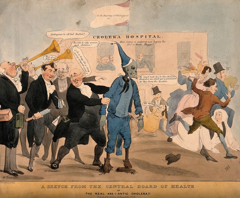 媒體傳播,也可能強化社會的恐懼。19世紀霍亂蔓延,延燒速度更快的是報紙、廣播,搶在疾病到來前,媒體對染病者的敘事想像,造成大西洋東西兩岸的集體恐慌。圖中引發驚聲尖叫的骷髏,描繪的便是大眾心中的霍亂病人。 圖片來源│Henry Heath,wellcome collection