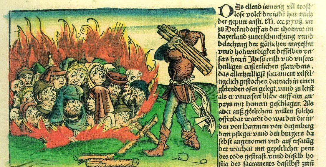 重大疾病的衝擊下,社會原有的弱勢或被拒斥群體,往往會成為「代罪羔羊」。黑死病期間,歐洲便有大量猶太人被殺害。 圖片來源│《紐倫堡編年史》