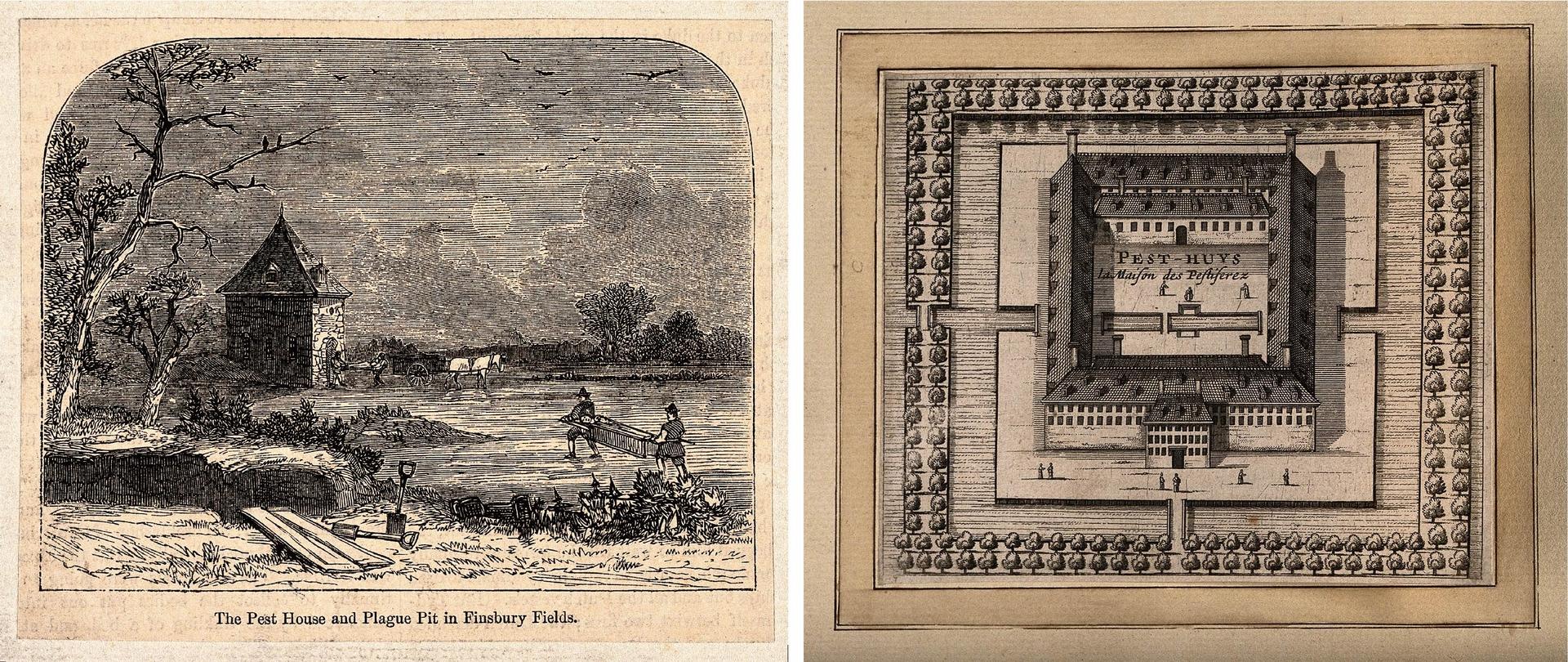 過去隔離所有簡易的木屋形式(左),後來也出現系統化、大規模建蓋,低樓層沒有窗戶、單一出入口,隔離所中間有活動空地,外圍則以河流、樹叢環繞,阻擋「瘴氣」飄散,圖(右)為近現代荷蘭萊頓的瘟疫收容所。圖片來源│(左)Moorfields, London,Wiki/(右)Wellcome Library
