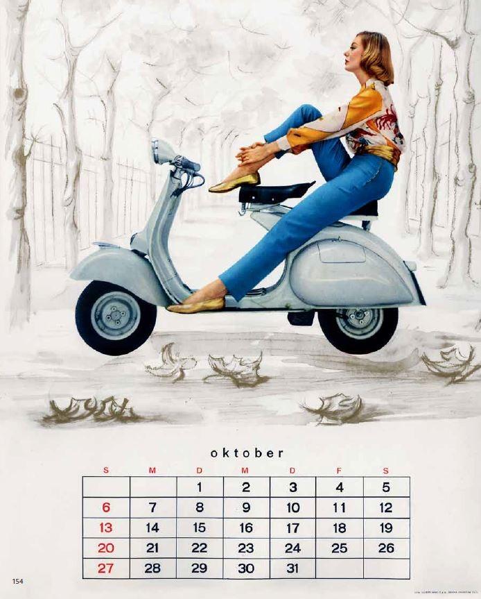 1961 年德國出版的Vespa 月曆,結合了攝影和繪畫的技巧。