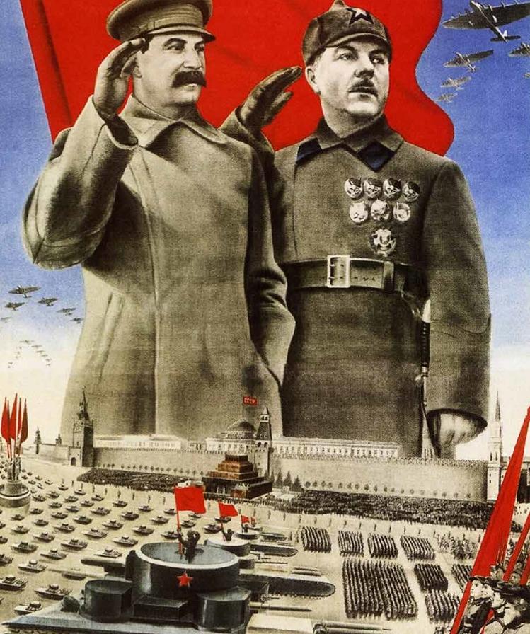 一張蘇聯宣傳海報,描繪史達林屹立在一支由看似所向無敵的戰車領導的陸軍縱隊之上。