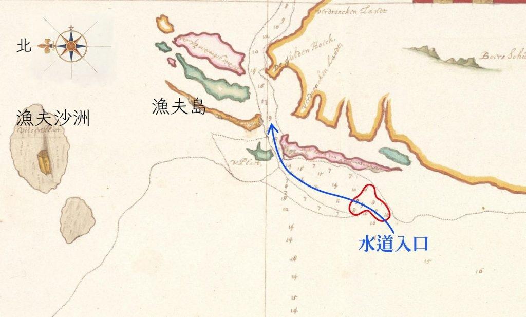 1633 年之前測繪的魍港海圖。藍線標示是可以航行的水道,此時水道入口處深度只有 7-8 呎(紅圈處),大型中式帆船不易出入,要小心翼翼地投測深錘前進。 圖片來源│River Matthaw (Pachang, northerly Taoyuan(部分), Johannes Vingboons, Atlas Blaeu, vol. 41:06, fol. 48-49.) 感謝奧地利國家圖書館 (Österreichische Nationalbibliothek) 授權使用。 圖說重製│林婷嫻、林洵安
