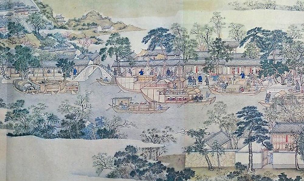 清代《姑蘇繁華圖》中可見到各式各樣的船隻,有畫舫、樓船及一般運貨的商務船等。 資料來源│維基百科