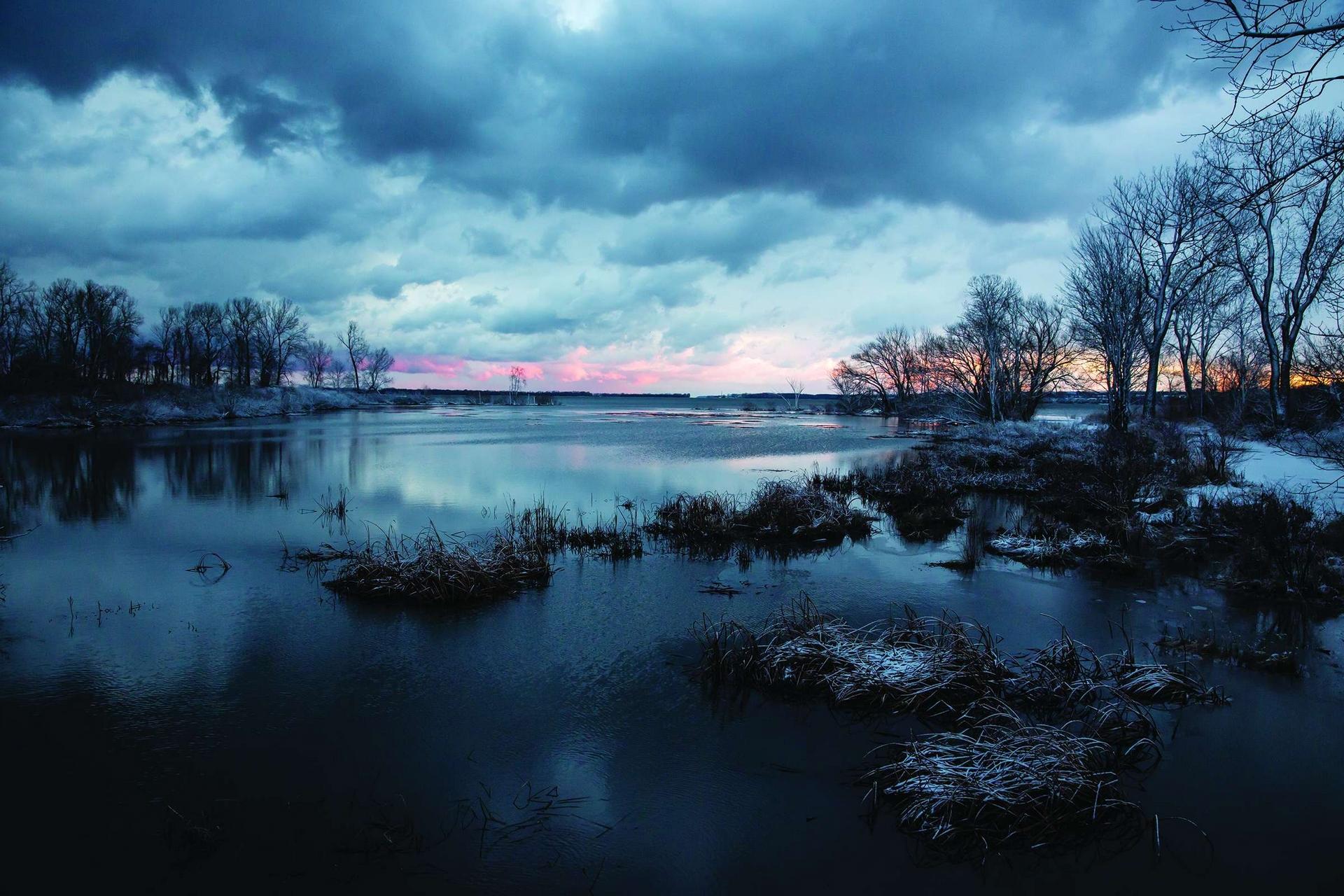 2020年1月8日伊利湖 隆冬1月的某一天,伊利湖普雷斯克島州立公園無冰的水面延伸至遠方,正是大湖區冬季日益變暖的證明。Photo by AMY SACKA(艾米.薩卡)