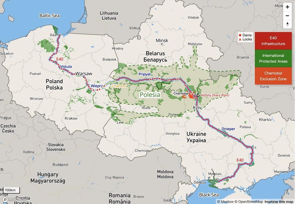 E40運河將穿過溼地波里西亞,部分疏濬開挖地點鄰近車諾比隔離區。圖片來源:拯救波利西亞(Save Polesia)