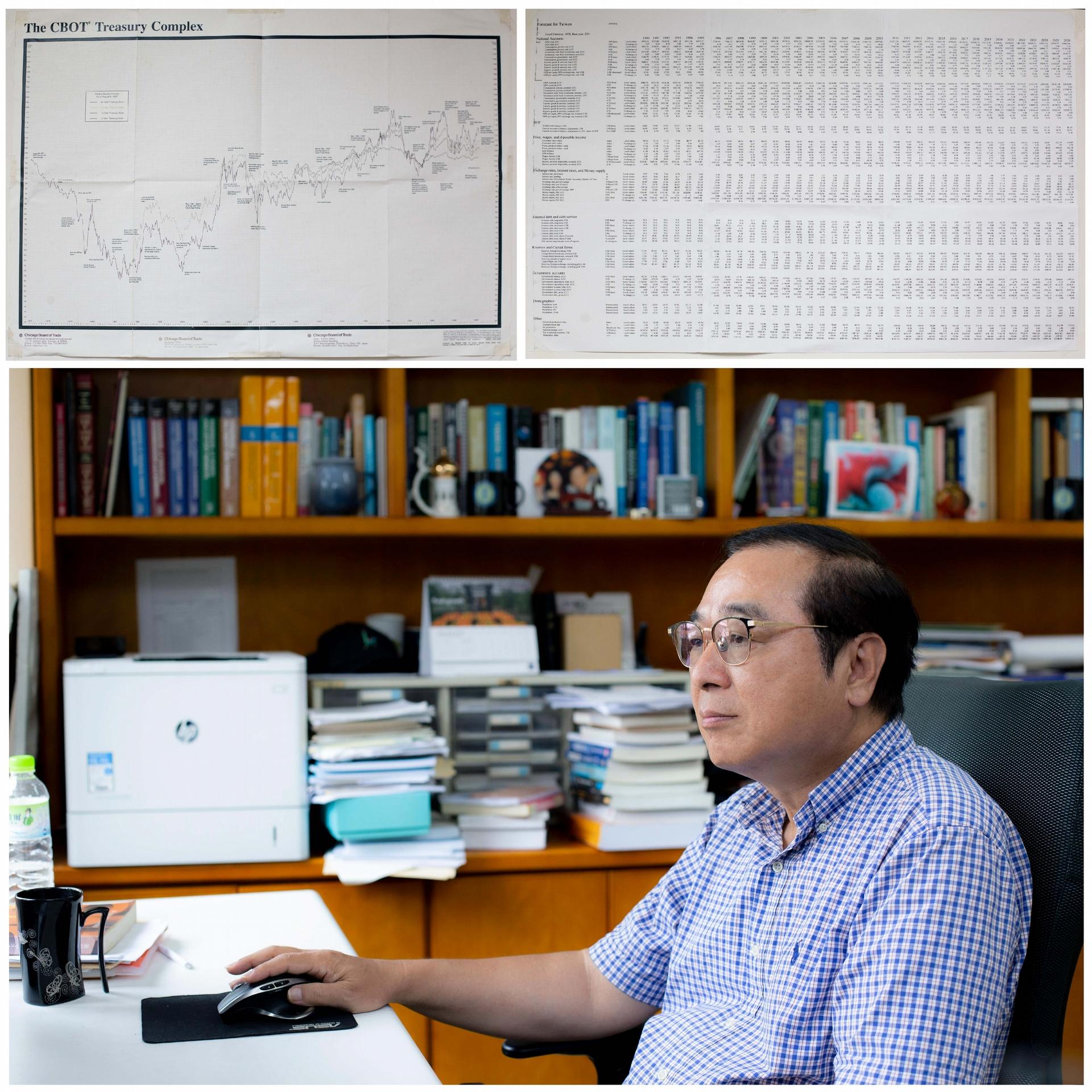 今年剛從研究員退休的周雨田,轉任兼任研究員,繼續為年底的經濟預測努力。走入辦公室,牆上貼著幾張描繪經濟走勢的圖表,一組組書櫃盡是經濟學相關書籍。每年影響臺灣重大經濟政策、商業發展的報告,就出自這間看似尋常的研究室。 圖│研之有物