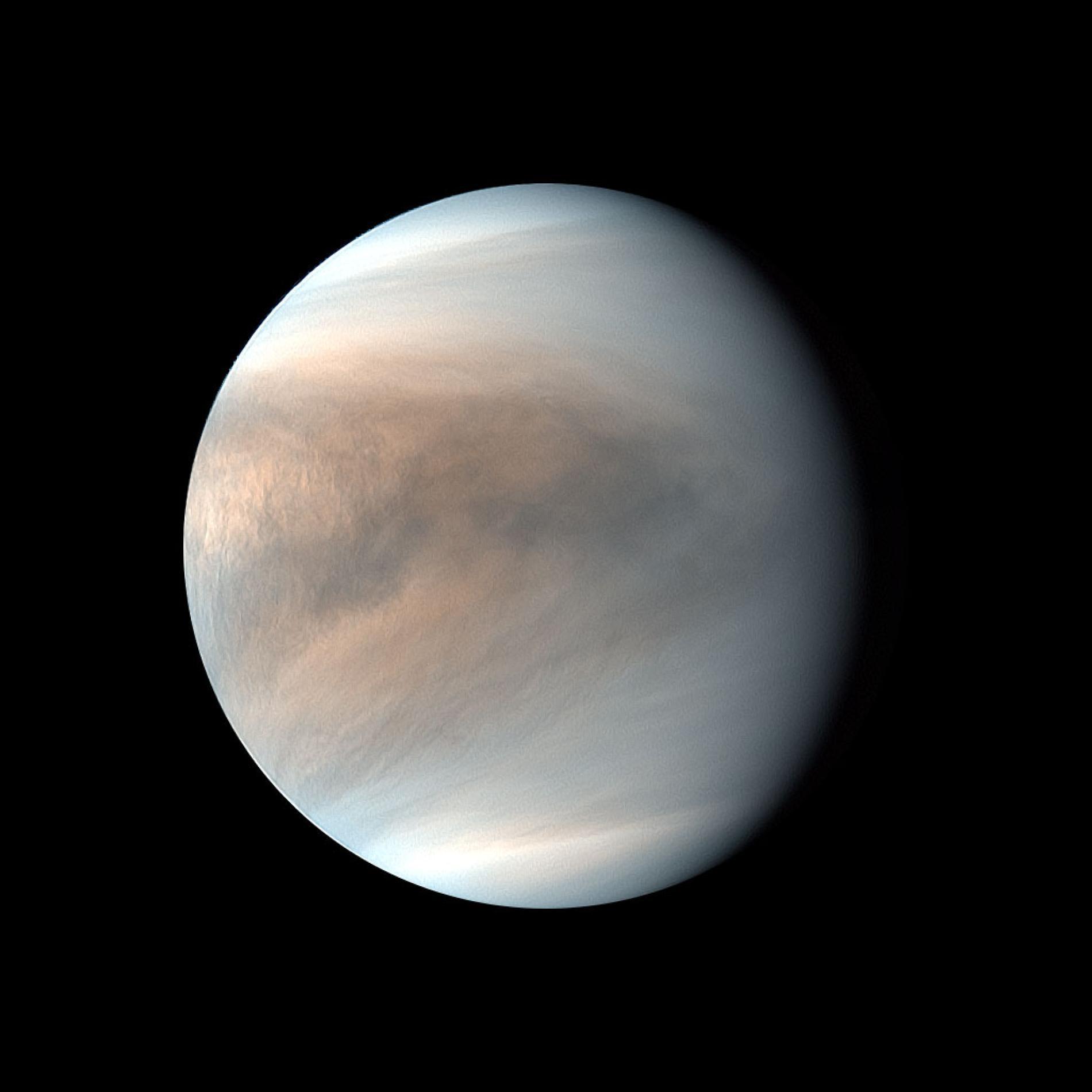 我們可以從日本破曉號太空船所拍攝的金星紫外線假色影像中,看到金星雲層的模樣。PHOTOGRAPH BY JAXA/PLANET-C PROJECT TEAM