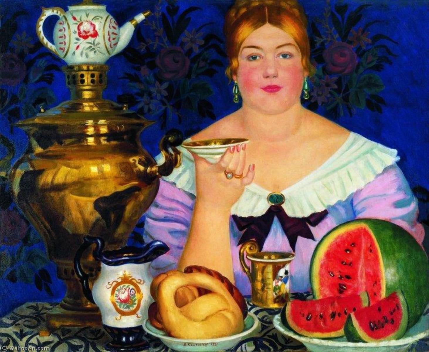 17世紀,莫斯科商人開始從中國進口茶葉,康熙年間還簽訂長期貿易協定。福建武夷山的茶葉,得經過萬里漫漫長路運輸,價格昂貴,喝茶成為俄國上流社會的身分象徵。 圖│Boris Mikhaylovich Kustodiev,1918
