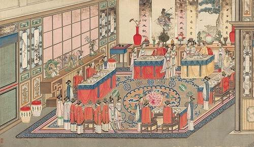《紅樓夢》中,曹雪芹以細緻工筆描繪賈府興衰,若與清宮檔案兩相對照,更能看懂大宅門裡奢華揮霍的起居用度、精細排場。 圖│清代,孫溫繪