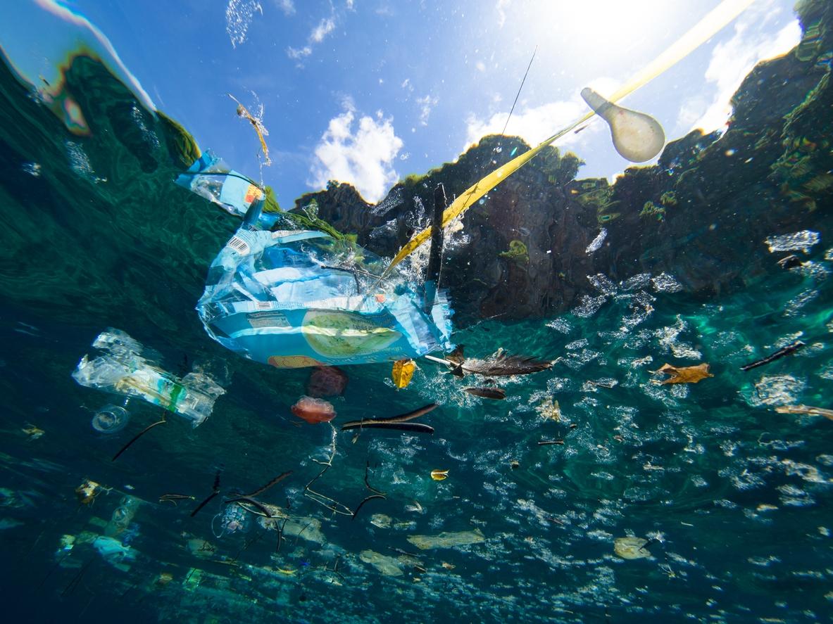 鄭明修數十年來看盡世界各地海洋變遷,痛心指出海洋垃圾為當前最嚴重的環境問題。圖片為漂浮在海面上的塑膠垃圾,水下拍攝。 圖│iStock