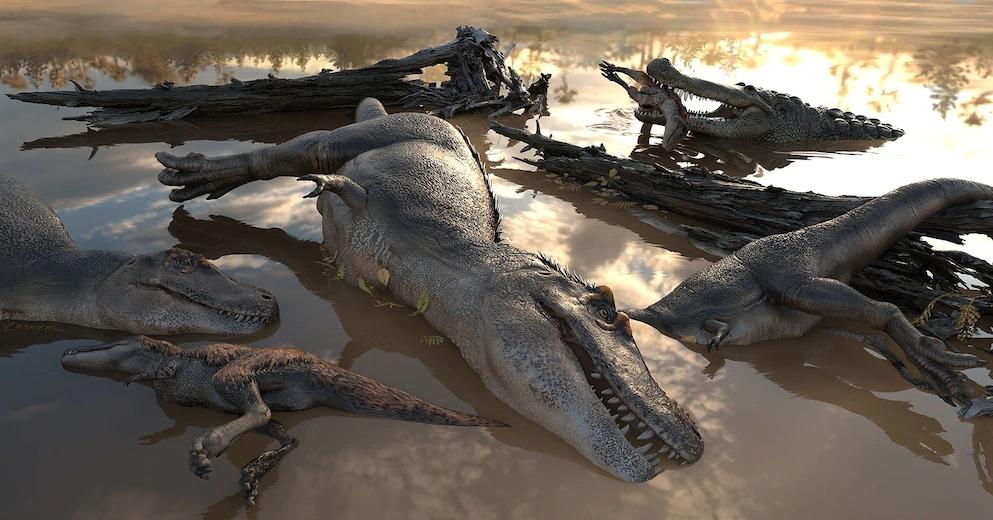 圖中描繪著一群溺斃的暴龍與正在撿食屍體的鱷魚。ILLUSTRATION BY VICTOR LESHYK