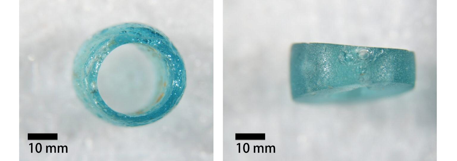 臺南道爺南遺址的玻璃珠,為顏色鮮豔的中空玻璃珠。 圖│王冠文