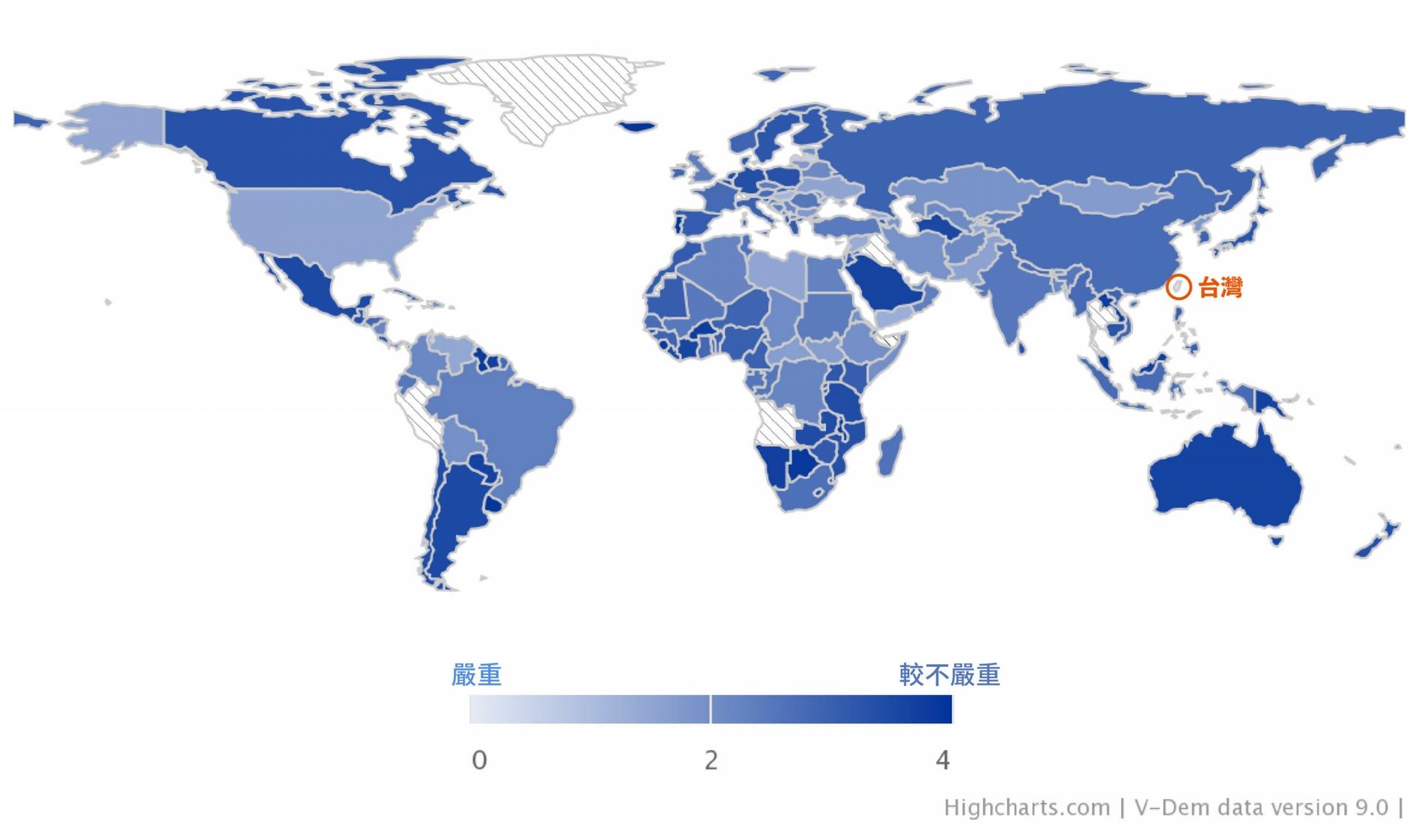 2018 年瑞典 V-Dem 遭受外國假資訊攻擊的跨國調查, 0-4(淺至深)為嚴重程度,0(淺色)代表散布最為頻繁,臺灣在 179 個國家中名列第一。 圖│digital society of project
