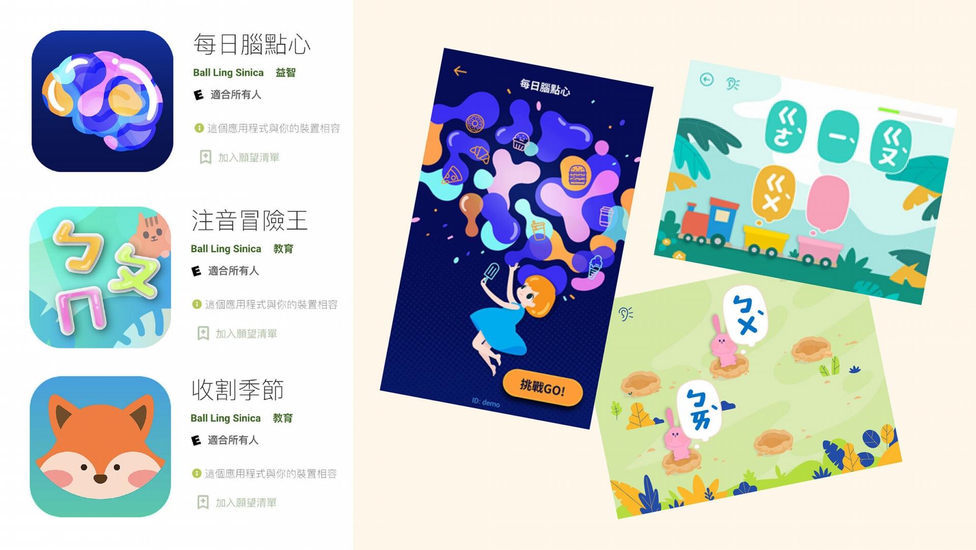 李佳穎團隊結合神經語言學,為台灣學童開發多款識字教學遊戲。目前的三款 APP(每日腦點心、注音冒險王、收割季節),都可免費下載,在疫情期間也提供雙北特教老師使用,作為學習障礙學童的線上課程,老師還可以從後台了解學習狀況。 圖│取自大腦與語言實驗室網頁