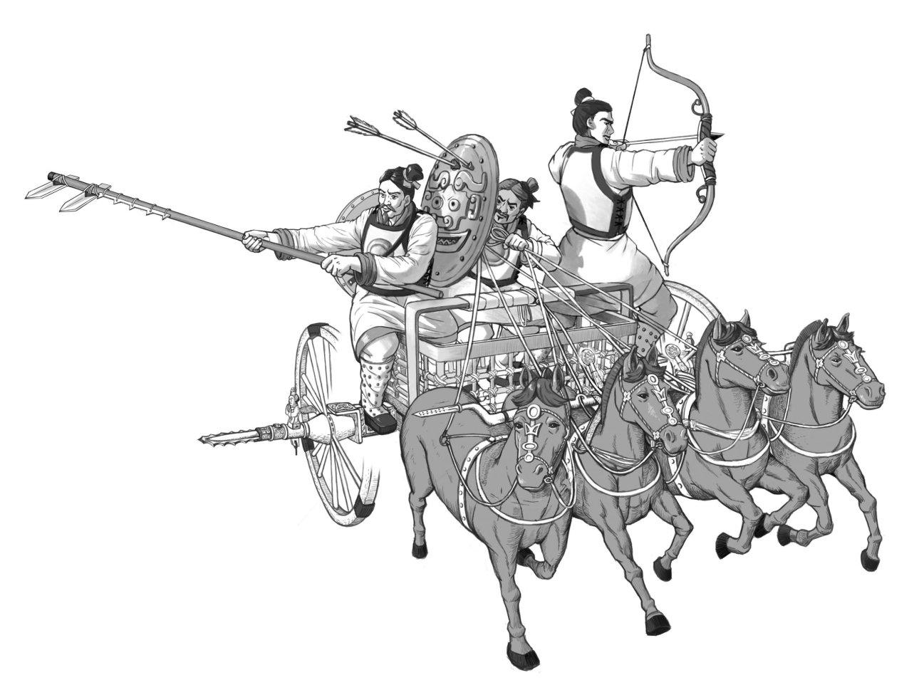 殷商時期馬車很稀少,推測是從歐亞草原傳入。死對頭周人從草原民族吸收造車技術,成為大戰時的祕密武器,在牧野之戰一舉擊潰商軍,就此揭開了車戰時代的序幕。圖為西周車戰示意圖。 圖│中研院歷史語言研究所