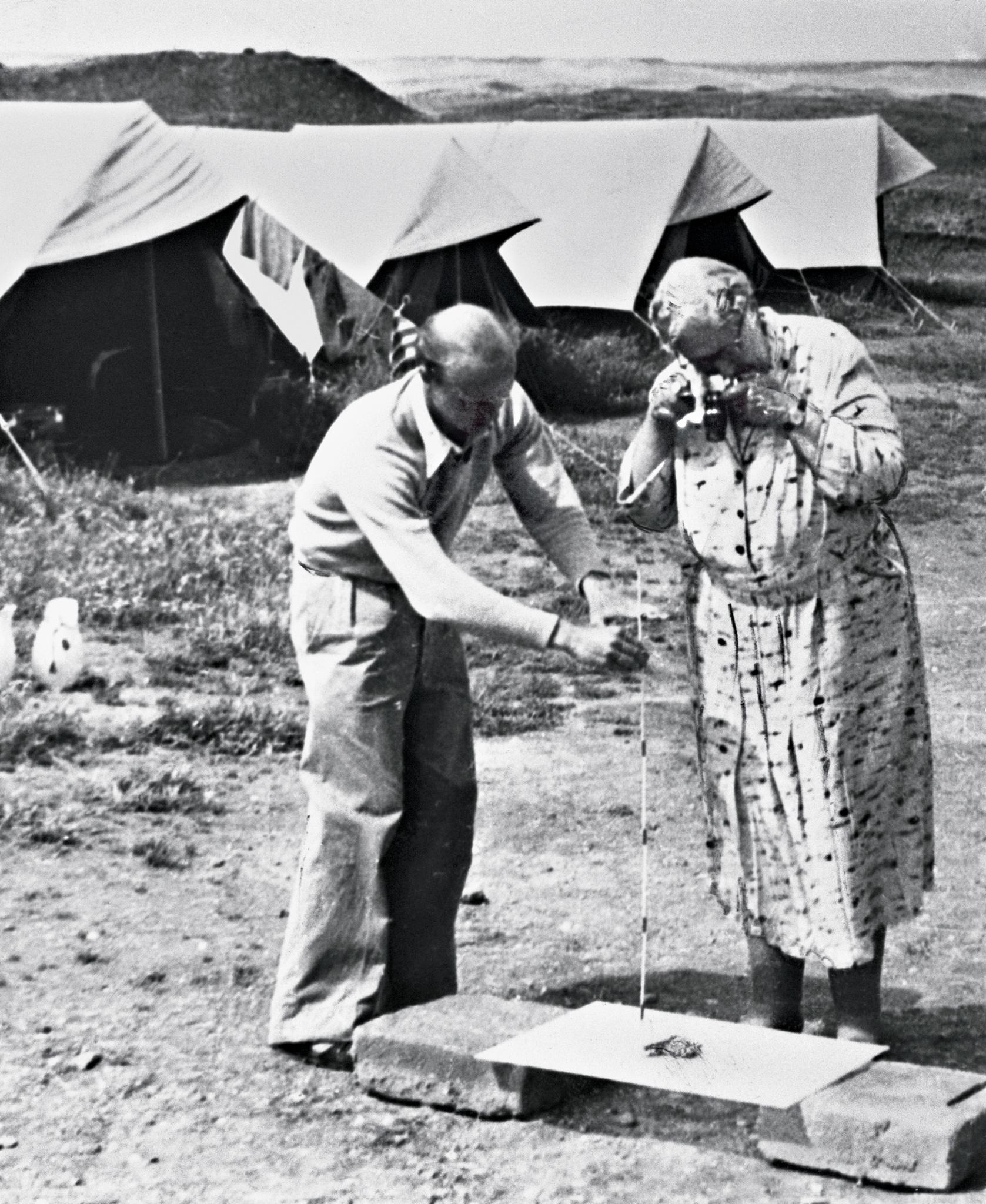 尼姆魯德出土了數千件雕刻精美的象牙製品,阿嘉莎.克莉絲蒂正在拍攝其中一件。許多象牙原本是家具裝飾物,當初作為戰利品或貢品從地中海沿岸附近的城市送到首都。PHOTO: BETTMANN ARCHIVE/GETTY IMAGES