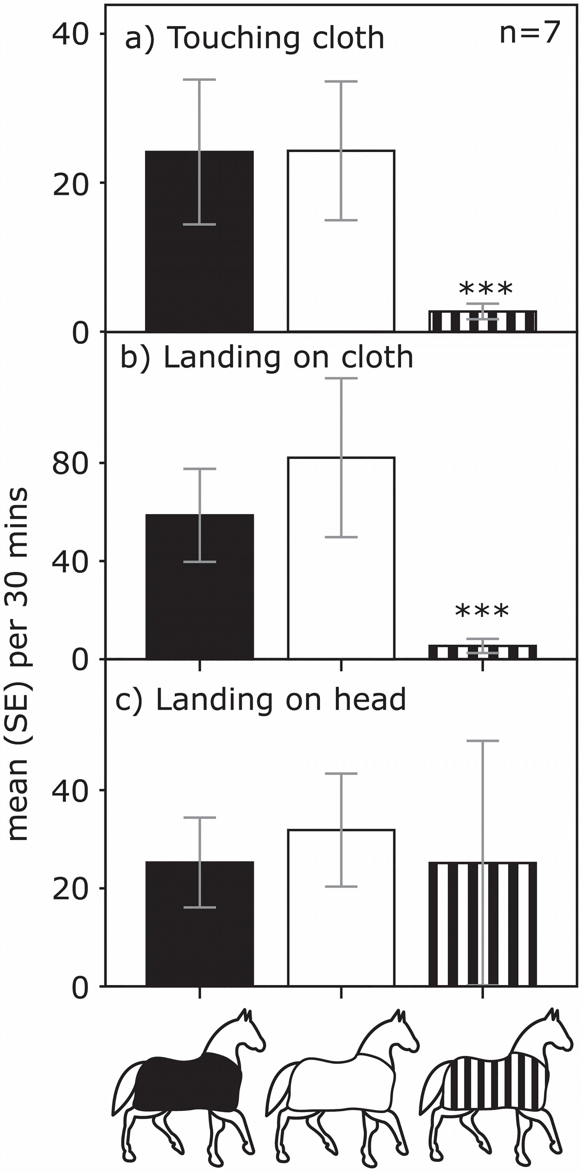 跟白色或黑色相比,條紋外套上的馬蠅要少得多(圖a&b)。但是光裸的頭部吸引到的馬蠅數量是差不多的(圖c) |  Caro et al. 2019