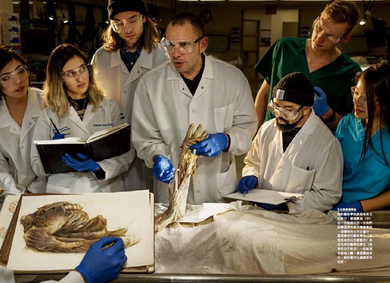 紐約藝術學院與費城卓克索大學醫學院一項獨特的合作計畫中,藝術學生(身穿借來的白色實驗衣)和醫學院學生(身穿彩色手術衣)一起檢視並素描人體。葛里摩迪表示,解剖實作比講課更有效果。
