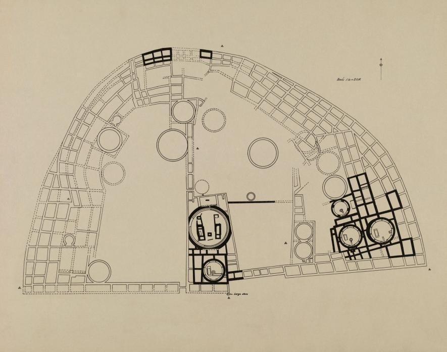 普韋布洛波尼遺址示意圖,大致描繪了考察團的發掘狀況。PHOTOGRAPH BY NEIL M. JUDD, NAT GEO IMAGE COLLECTION