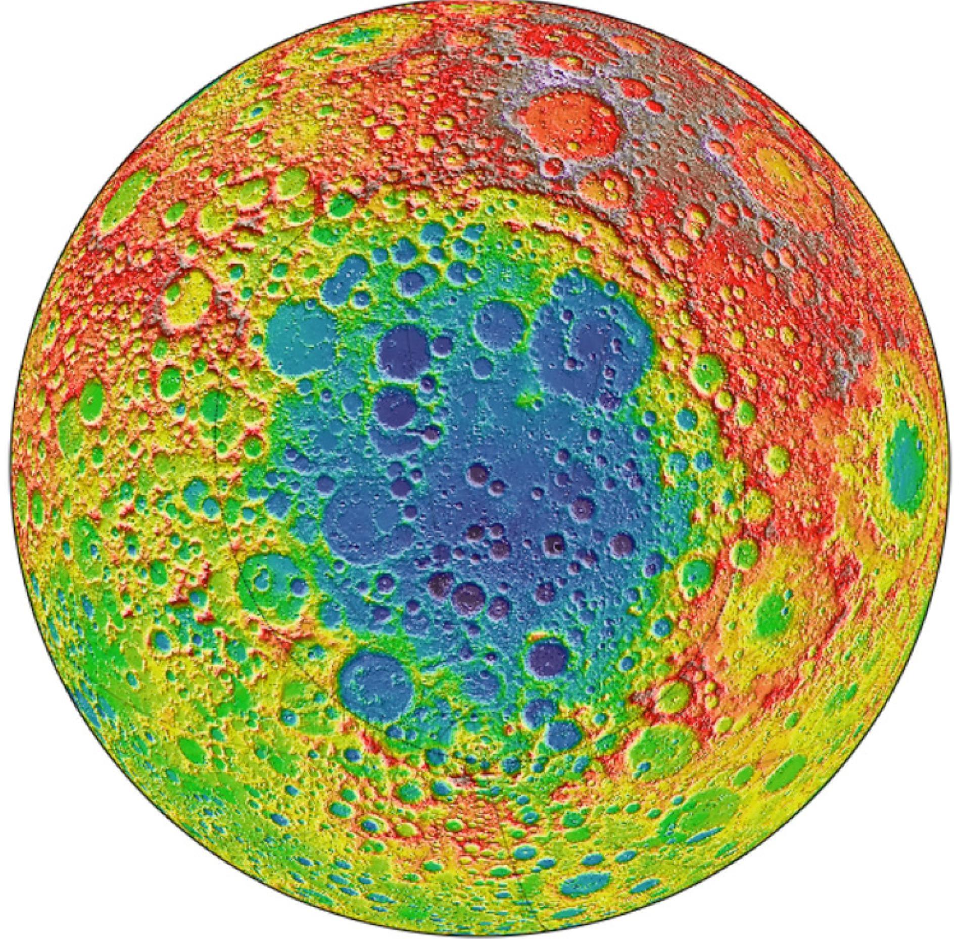 這張影像是根據美國航太總署(NASA)月球勘測軌道飛行器(Lunar Reconnaissance Orbiter,LRO)的數據所繪製,顯示出月球背面坑坑疤疤的樣子。藍色陰影處的南極-艾托肯盆地(South Pole-Aitken basin)是太陽系中已知最古老也最大的撞擊盆地,寬度約2500公里。PHOTOGRAPH BY NASA/GODDARD