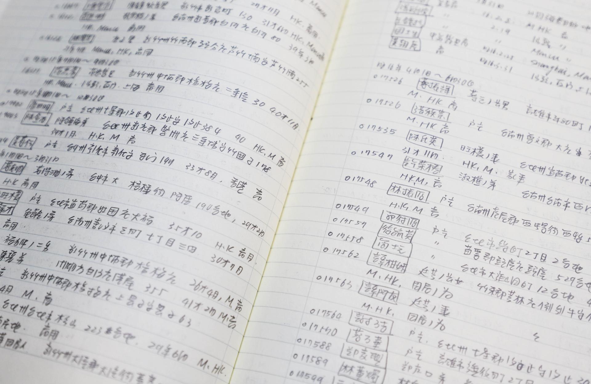 許雪姬初期手抄旅券資料,一筆一筆帶回臺灣。資料來源│許雪姬