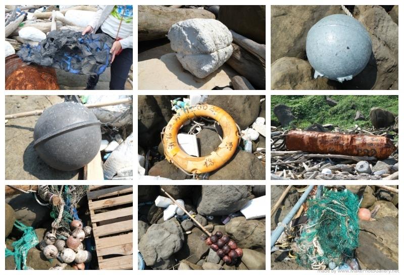 臺灣海岸上的各種漁業廢棄物。攝影:居芮筠