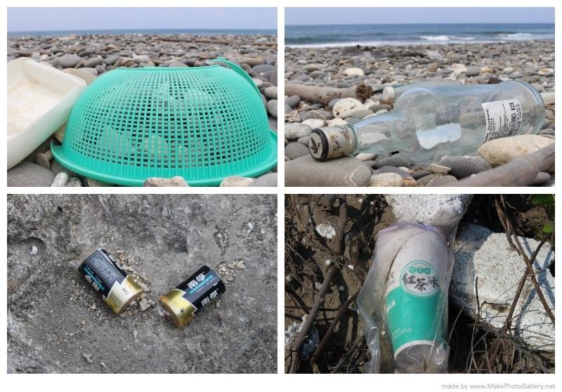 臺灣海岸上的各類生活廢棄物。攝影:黃靖軒