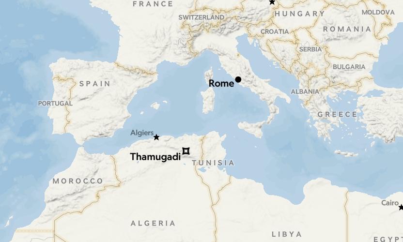 薩穆加迪和羅馬在地圖上的位置。