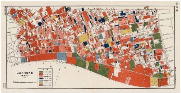 這張日製上海地圖以顏色表示在這裡生活和工作的居民身分,例如綠色為日本人居住地,淺藍色區塊代表這裡有美國註冊公司。