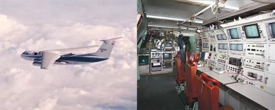 左圖:1980年拍攝的柯伊伯機載天文臺,此時望遠鏡艙門(位於機翼前方)處於打開狀態。右圖:柯伊伯機載天文臺機艙內部,望遠鏡與機艙被隔離開,因此望遠鏡艙門打開不會對機艙的氣壓造成影響| 參考資料[1]