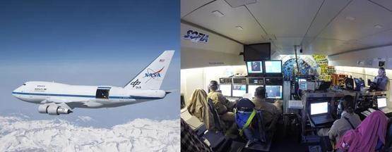 左圖:飛行中的同溫層紅外線天文臺。右圖:機艙內部,負責操縱望遠鏡和分析數據的科學家坐在機艙後部,正對望遠鏡| 參考資料[1]