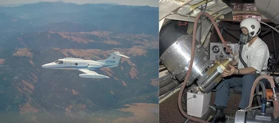 左圖:里爾噴氣機天文臺,望遠鏡就安裝在機翼的前方。右圖:1968年,科學家卡爾.吉萊斯皮(Carl Gillespie)正在使用望遠鏡| 參考資料[1]