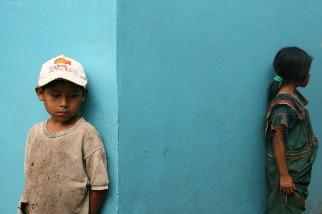 巴拿馬諾布部落的兩個孩子
